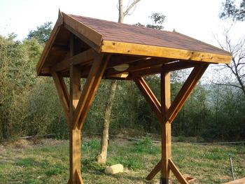 遮雨棚. 木栈道.木作工程, 木造凉亭 木平台. 休憩凉亭.